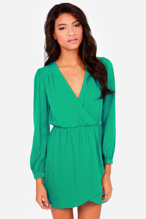 Cute Teal Green Dress - Wrap Dress - Long Sleeve Dress - $49.00