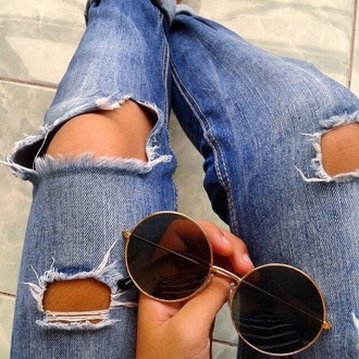 jeans denim skirt rad aesthetic grunge sunglasses big glasses tumblr round glasses big frames round frame glasses