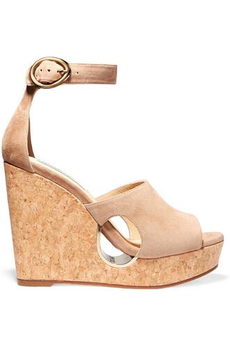 sandals wedge sandals suede beige shoes