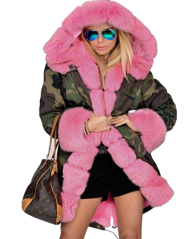 0189f3355989c Amazon.com: Roiii Womens Hooded Camouflage Warm Winter Coats Faux Fur Jacket  Parka Overcoat: Clothing