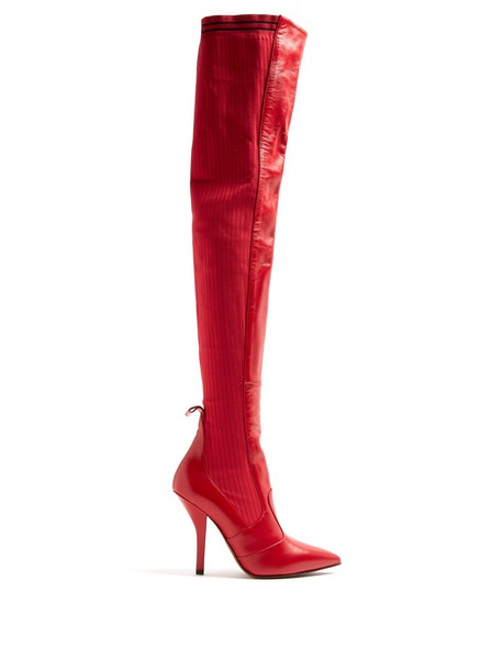 Fendi sock boots leather red shoes