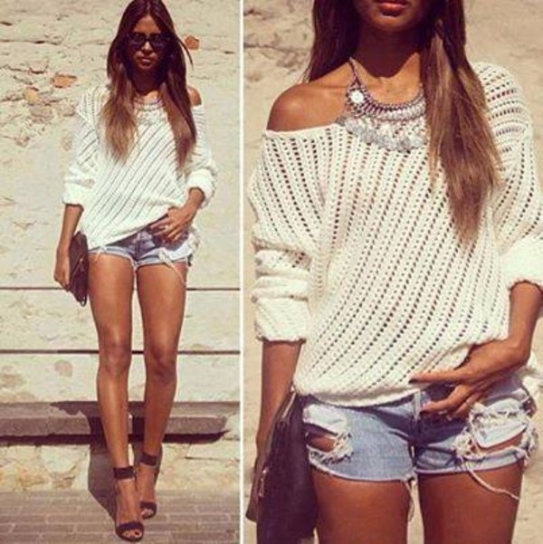 shorts necklace sweater