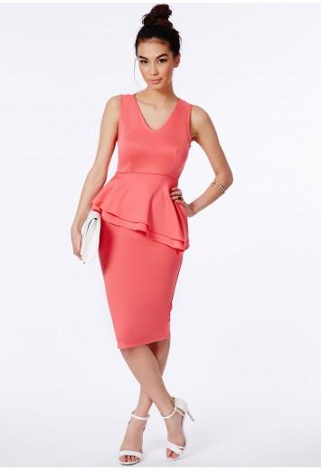 Latisha Peplum Midi Dress - Dresses - Midi Dresses - Missguided