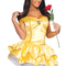 Womens sexy halloween belle beauty beast fairytale costume gold