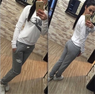 jumpsuit white grey romper joggers sport suit nike sweater sweatshirt hoodie pants nike sweater nike sweatshirt shirt cute workout clothes women shoes tracksuit nike grey and white shirt