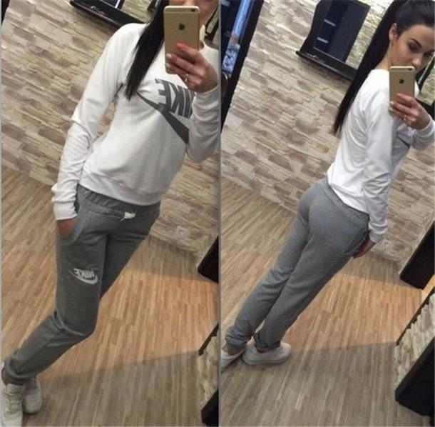 jumpsuit white grey romper joggers sport suit nike sweater joggers  sweatshirt hoodie pants nike sweater nike 3381e16ab