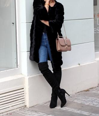 coat tumblr black coat fur coat jeans blue jeans thigh high boots black boots boots suede boots high heels boots bag pink bag top black top winter outfits shoes