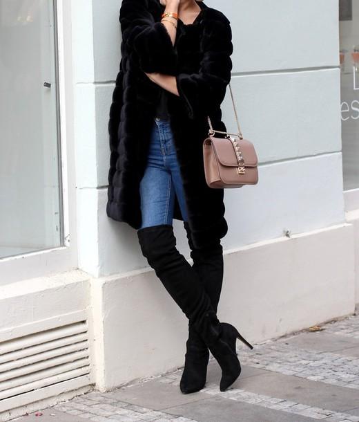 coat tumblr black coat fur coat jeans blue jeans thigh high boots black boots boots. Black Bedroom Furniture Sets. Home Design Ideas