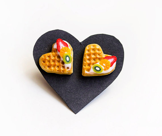 Waffle earrings miniature food by FabulousFunkys on Etsy