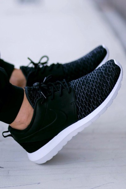 best service 3fb6e 46583 shoes nike black nike roshe run leather low top sneakers black with leather  roshe runs nike