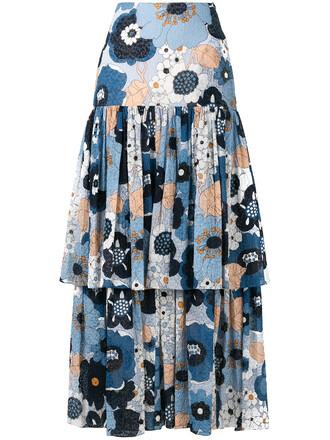 skirt women floral cotton blue silk