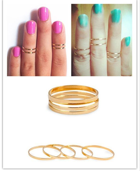 Retro 5pc Set Rings Urban Gold Stack Plain Cute Above Knuckle Band MIDI Ring | eBay