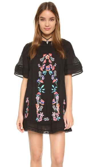 dress mini dress mini embroidered victorian black