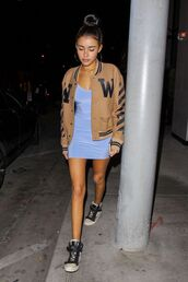 dress,jacket,bodycon dress,mini dress,sneakers,madison beer,fall outfits