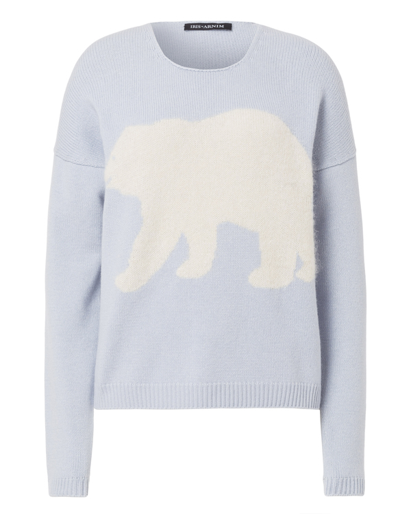 Cashmere sweater with polar bear inlay by iris von arnim