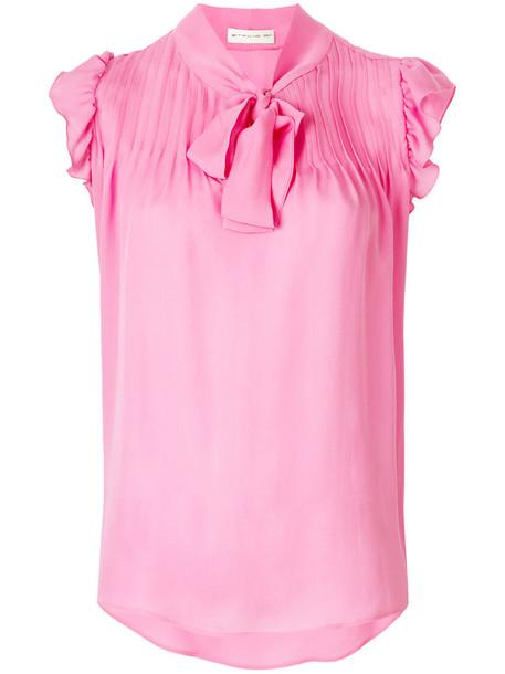 blouse women silk purple pink top