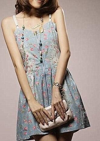 dress blue pink flowers floral cute blue dress flower print asian fashion straps dress