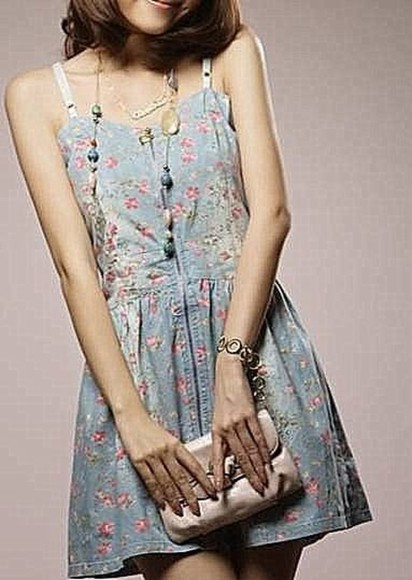 pink flowers floral cute blue dress blue dress flower print asian fashion straps dress