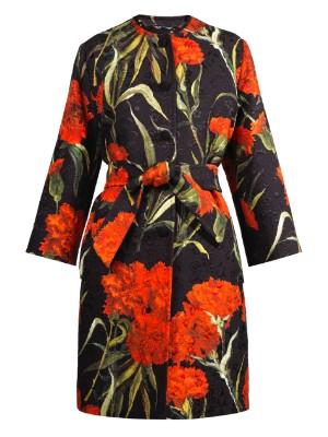 Carnation-brocade single-breasted coat   Dolce & Gabbana   MATCHESFASHION.COM