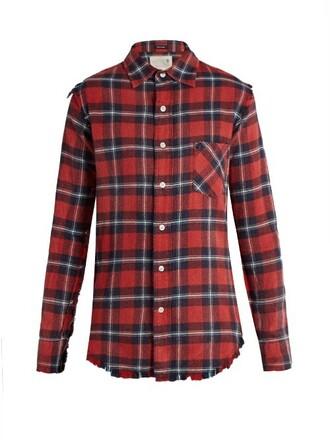 shirt long cotton tartan red top