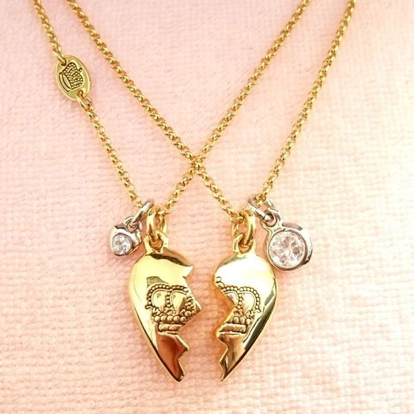 Genuine juicy couture best friend heart necklaces gold