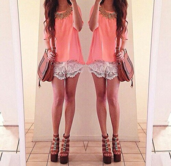 white lace shorts blouse wedges