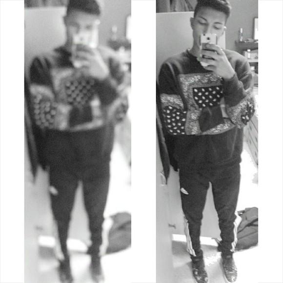 crewneck menswear paisley black and white