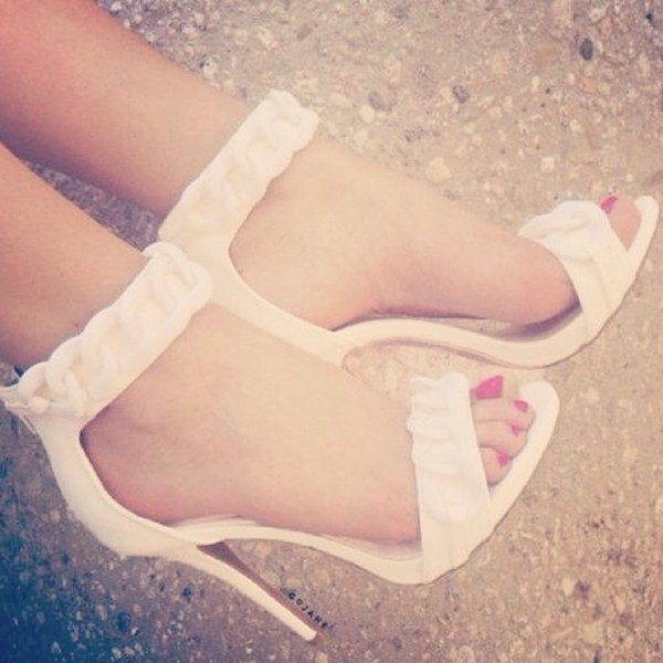 shoes heels beige shoes white white high heels open toes open toes open toes buckles high heels cute high heels summer