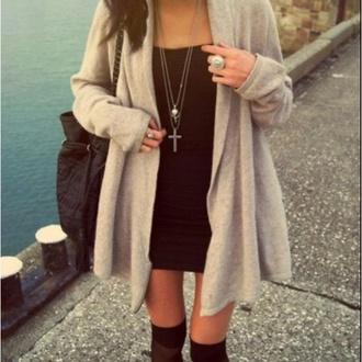 jacket cardigan beige nude grey jewels dress cross necklace sweater blouse loose open front long sleeves