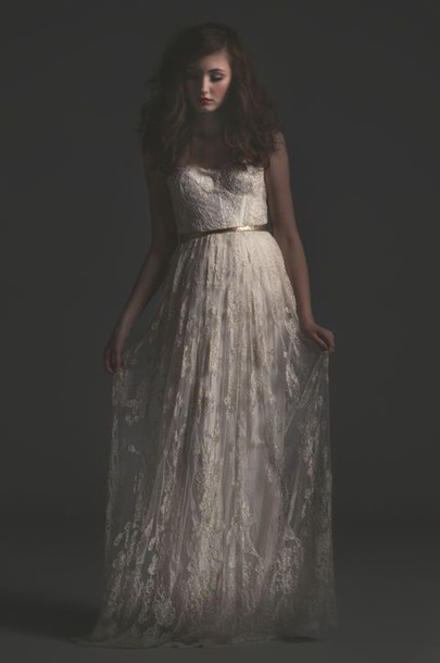 dress long dress white dress lace dress strapless