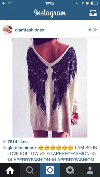 sweater cream knit angel wings