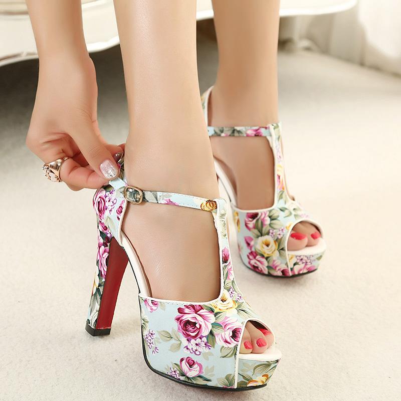 2014 sapatas do verão plataforma print floral com tira no tornozelo salto alto sandálias das mulheres senhoras sapatos de festa à noite mulher calçado em sandálias de sapatos no aliexpress.com