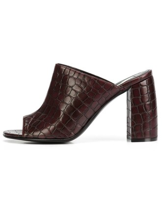 mules crocodile brown shoes