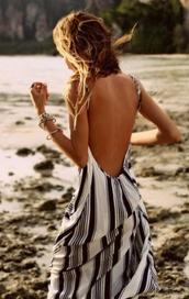 dress,black and white,backless dress,maxi dress,black and white dress,striped dress