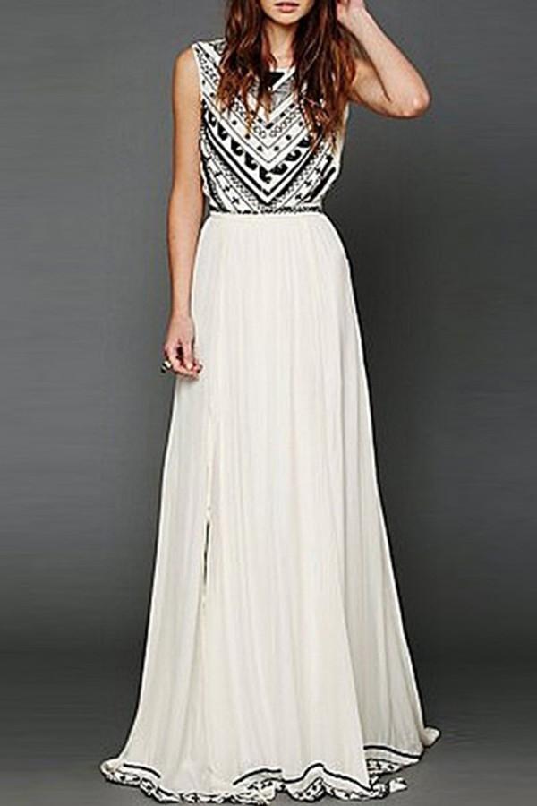 White Geometric Dress