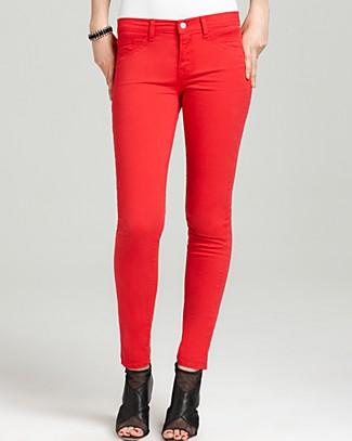 Rise skinny twill pants