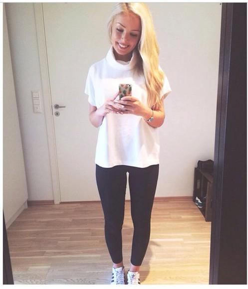 black pants black white t-shirt white t-shirt white crop tops