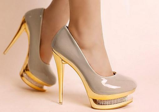 Heel Pump Shoes For Women Two Waterproof Sets Rhinestone Platform