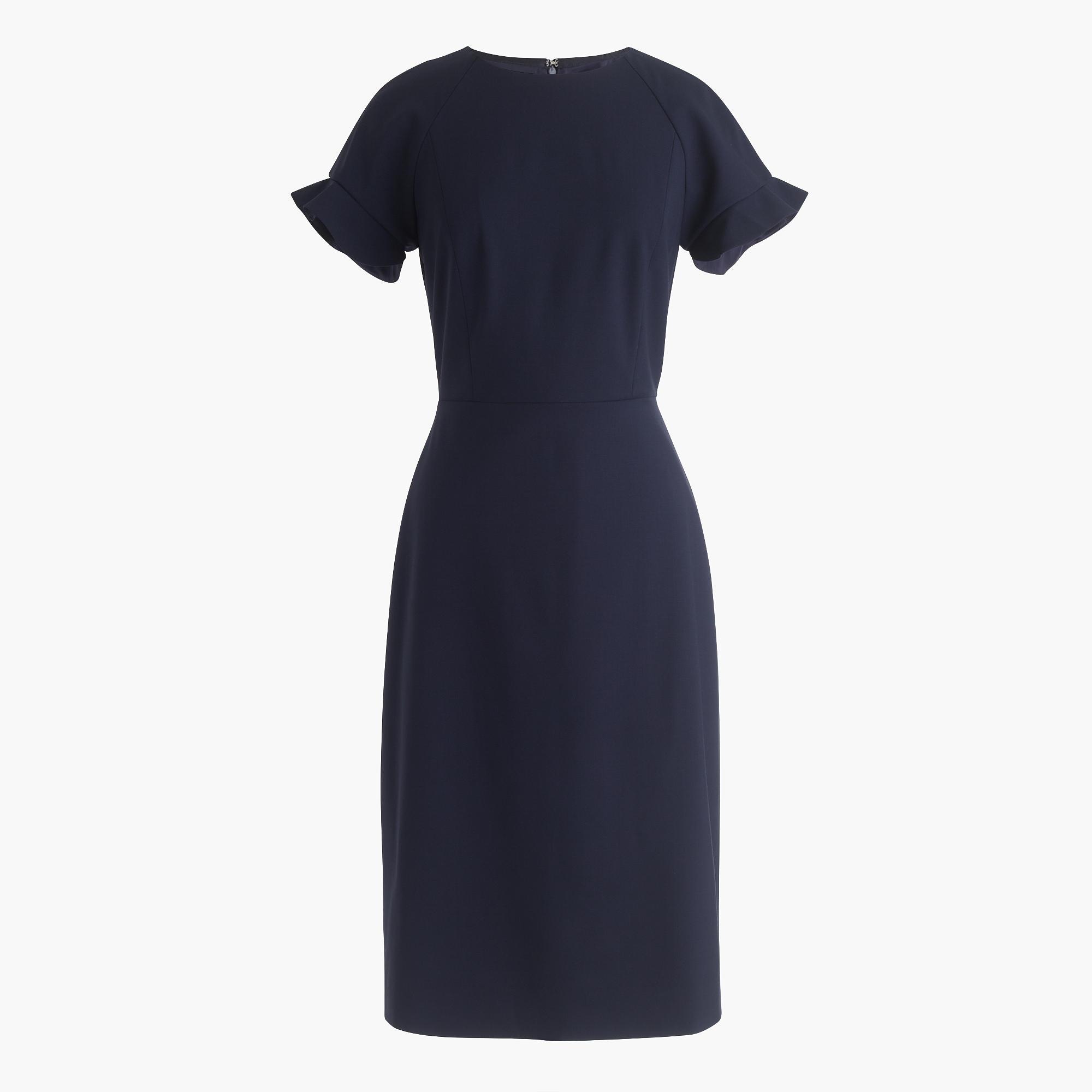 Ruffle-sleeve sheath dress in Italian stretch wool