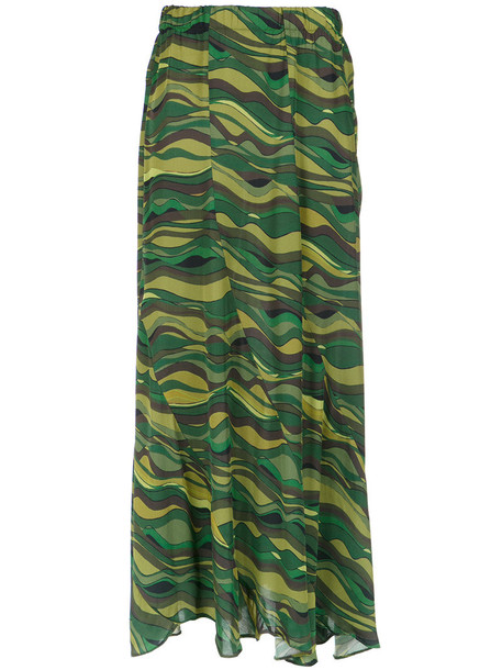 AMIR SLAMA skirt printed skirt long women green