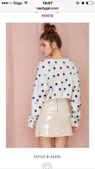 cardigan white sequins skirt beige polka dots