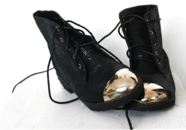 shoes gold shiny print black lace up boots hipster tumblr