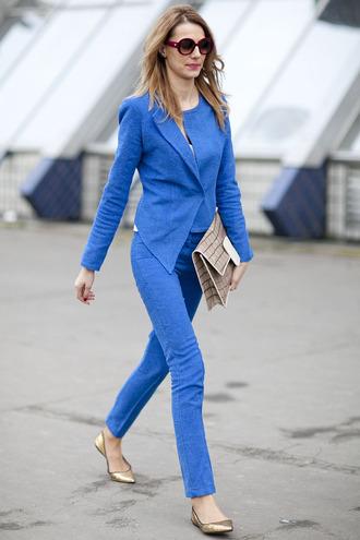 jacket all blue all blue outfit blue jacket pants blue pants bag nude bag ballet flats flats gold flats sunglasses spring outfits