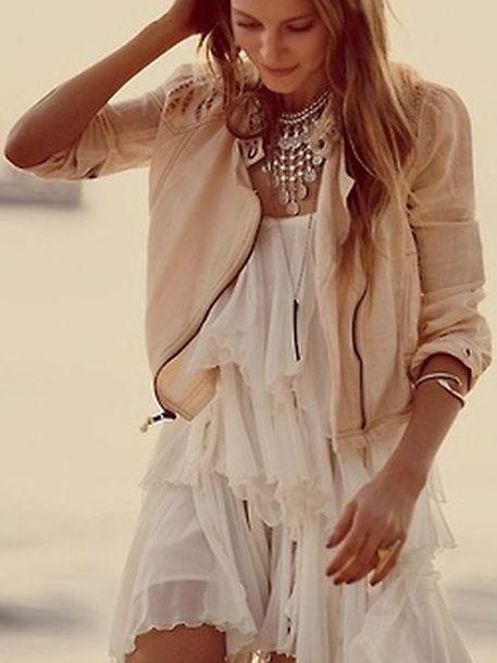 dress peach jacket zipup frilly white dress flirty layered jewels dress jacket white ivory bling necklace beige jacket