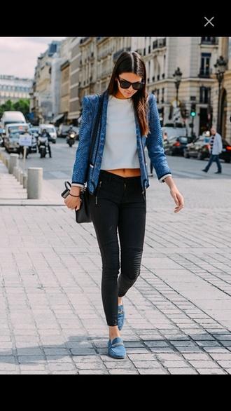 leggings fashion kendall jenner jeggings pants jacket blue blazer snake print leather motorcycle jacket kardashians black