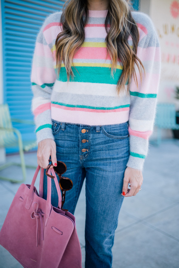 sweater tumblr candy pastel colorful multicolor cozy sweater stripes striped sweater denim jeans blue jeans bag pink bag sunglasses