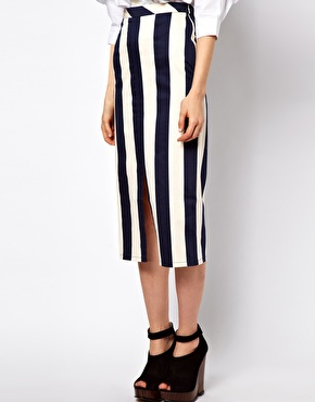 Asos vertical stripe skirt in column shape at asos