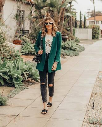 shoes slide shoes green blazer black slides blazer ripped jeans denim black denim top white top bag sunglasses