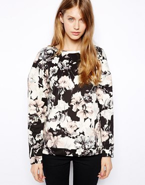 Warehouse | Warehouse Drop Shoulder Floral Sweat Top at ASOS