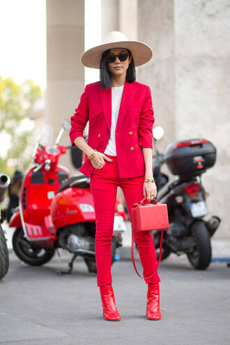 bag red pants jacket fashion week 2014 fall outfits color block felt hat